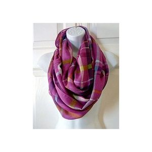 Coach Magenta Plaid Infinity Scarf Fall Colors